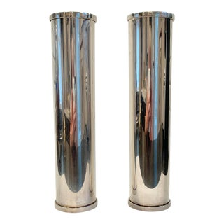 Vintage Chrome Pillar Candleholders - a Pair For Sale