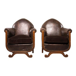 All Original French Art Deco Leather Club Chairs With Velvet Cushions-A Pair For Sale