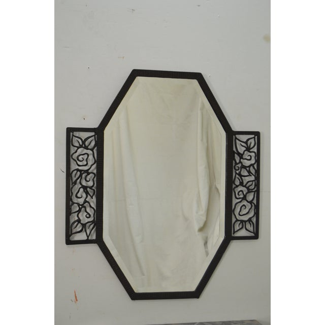 Black Art Deco Oscar Bach Style Iron Marble Top Wall Console w/ Mirror For Sale - Image 8 of 10