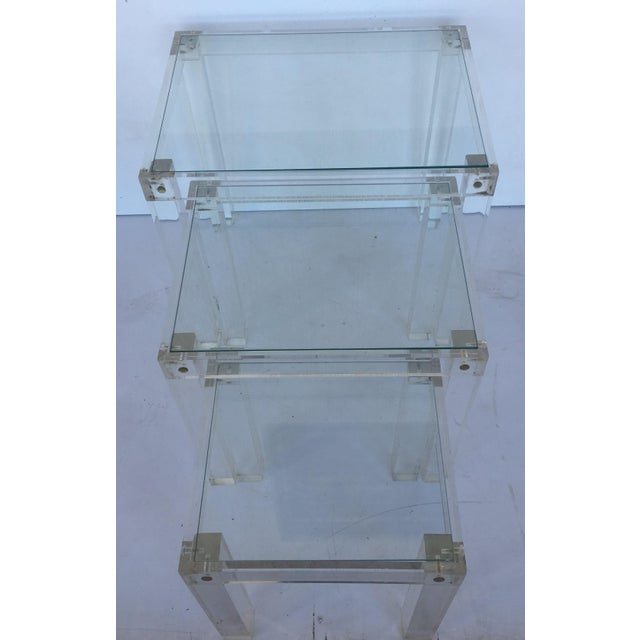 Set of Vintage Lucite and Glass Nesting Tables For Sale In Miami - Image 6 of 10