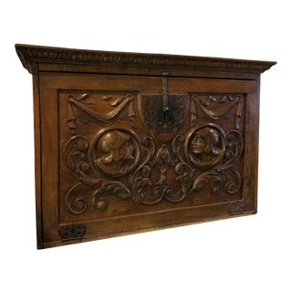 Antique Carved Wooden Traveling Secretary For Sale