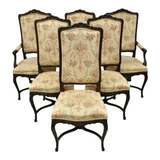Vintage French Provincial Louis XV Country Style Upholstered Dining Chairs- Set of 6 For Sale