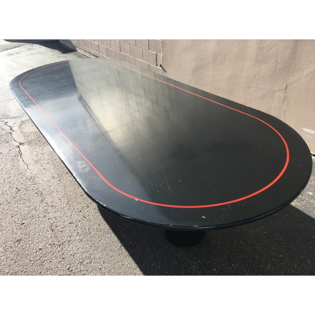 Mid-Century Modern Black Lacquered 10' Elliptical Dining Conference Table For Sale - Image 9 of 13