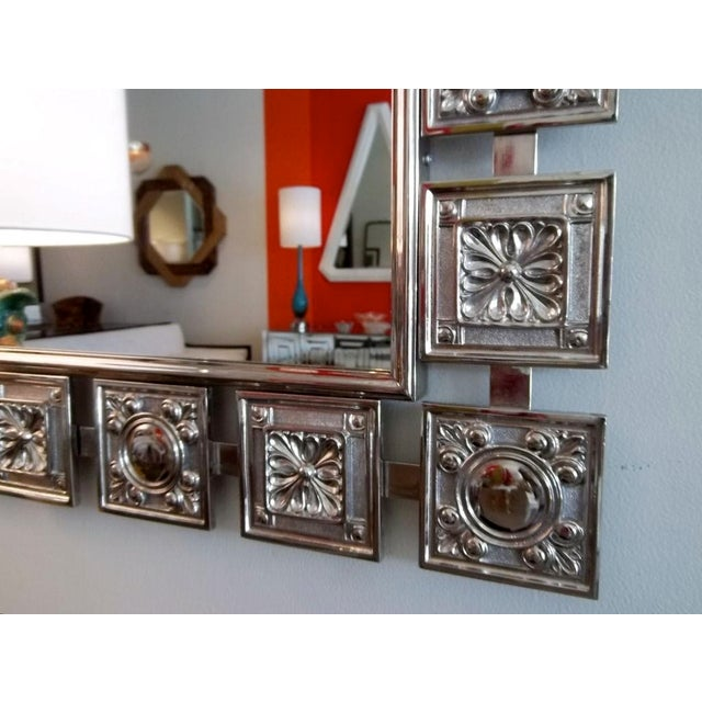 Boho Chic Mid Century Modern Nickeled Silver Wall Mirror For Sale - Image 3 of 6