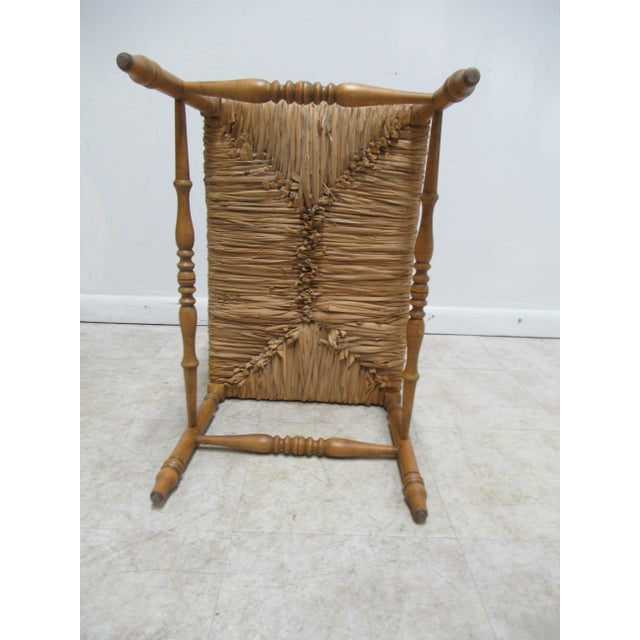 Brown 1990s Vintage Faux Bamboo French Regency U Bench Ottoman Vanity Seat Stool Rush Seat For Sale - Image 8 of 11
