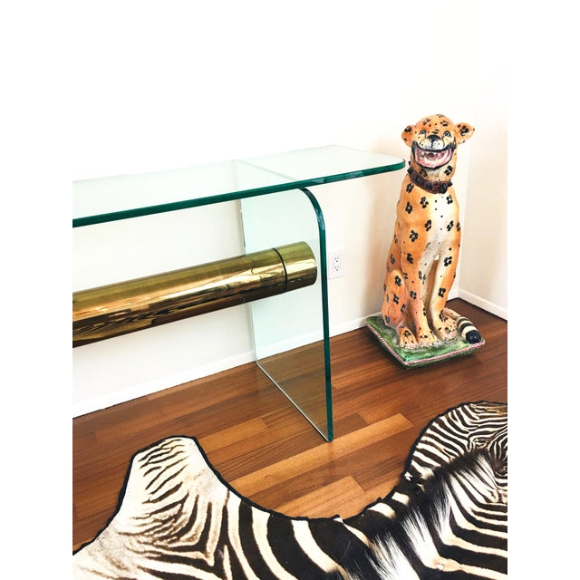 1970s Ultra Modern Glass & Brass Beam Console Sofa Table For Sale - Image 9 of 11