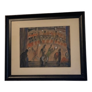 "Late 20th Century ""Backstage"" Framed Watercolor of Circus Scene Signed ""Ellsworth"" For Sale"