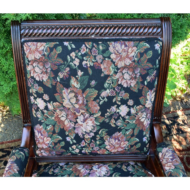 Traditional 19th Century Antique Victorian Eastlake Mahogany Rocking Chair New Upholstery For Sale - Image 3 of 13