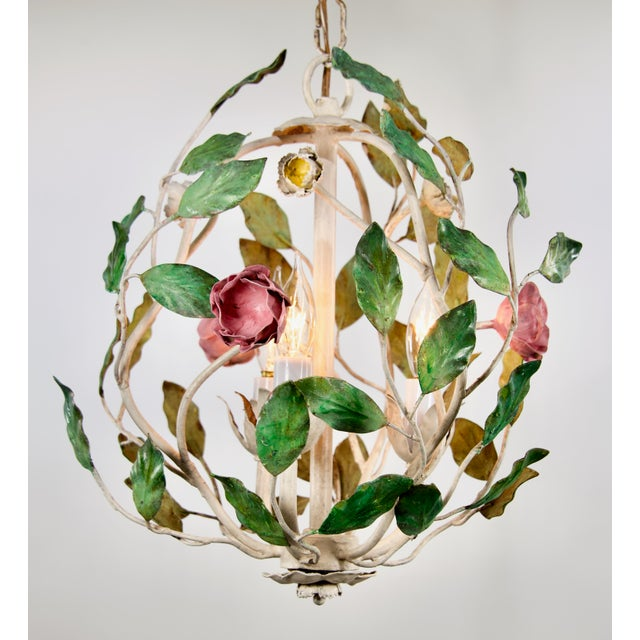 """1960's Italian Tole Chandelier with leaves and flowers 3 candelabra sockets. 12"""" wide, 14"""" tall, 12"""" chain. working..."""