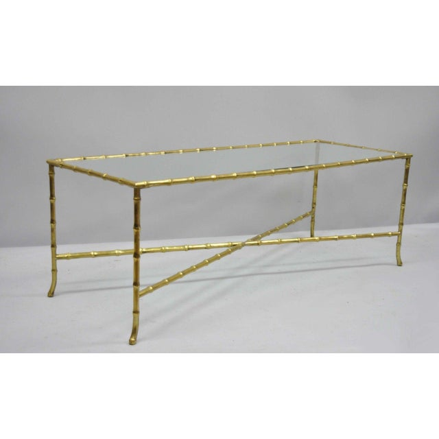 Maison Bagues French Bronze Faux Bamboo Glass Rectangular Coffee / Cocktail Table For Sale - Image 10 of 11