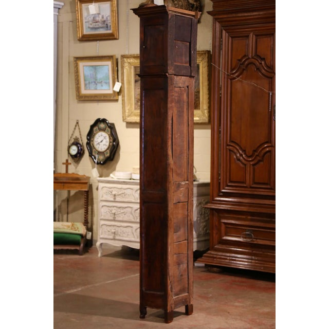18th Century French Louis XV Carved Walnut and Burl Case Clock With Rooster For Sale - Image 10 of 12