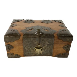 Brass Plated Wooden Box With Turtle Clasp For Sale