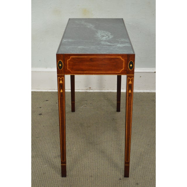 Henkel Harris Mahogany Federal Style Marble Top Inlaid Console Mixing Table For Sale - Image 10 of 10