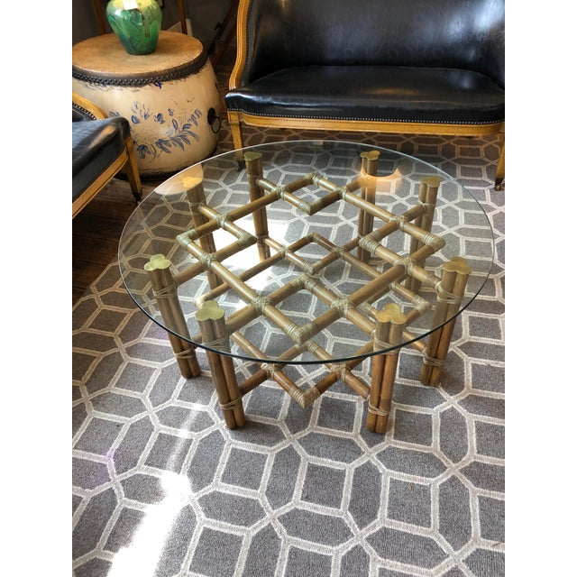 McGuire 1990s Boho Chic McGuire Round Rattan Coffee Table With Glass Top For Sale - Image 4 of 11