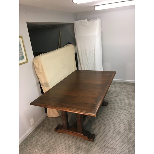 Rustic Conant Ball Windsor Plank Oak Dining Table For Sale - Image 3 of 3