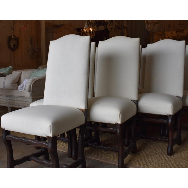 French Provincial 1940s French Provincial Upholstered Os De Mouton Dining Chairs - Set of 10 For Sale - Image 3 of 13