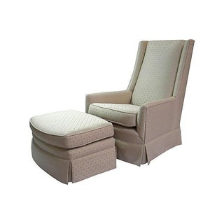 High-Back Chair and Ottoman For Sale