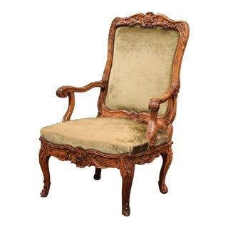 19th Century French Louis XV Carved Walnut Desk Armchair with Green Velvet For Sale