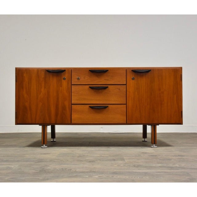Petite Walnut Credenza by Jens Risom For Sale - Image 12 of 12