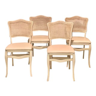 Caned Backed Neutral Colored Stackmore Folding Chairs - Set of 4 For Sale