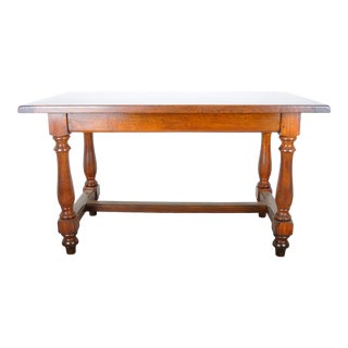 1940s French Country Style Walnut Trestle Dining Table W/ One Drawer For Sale
