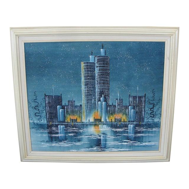 Vintage Mid-Century Night Cityscape Oil Painting - Image 1 of 8
