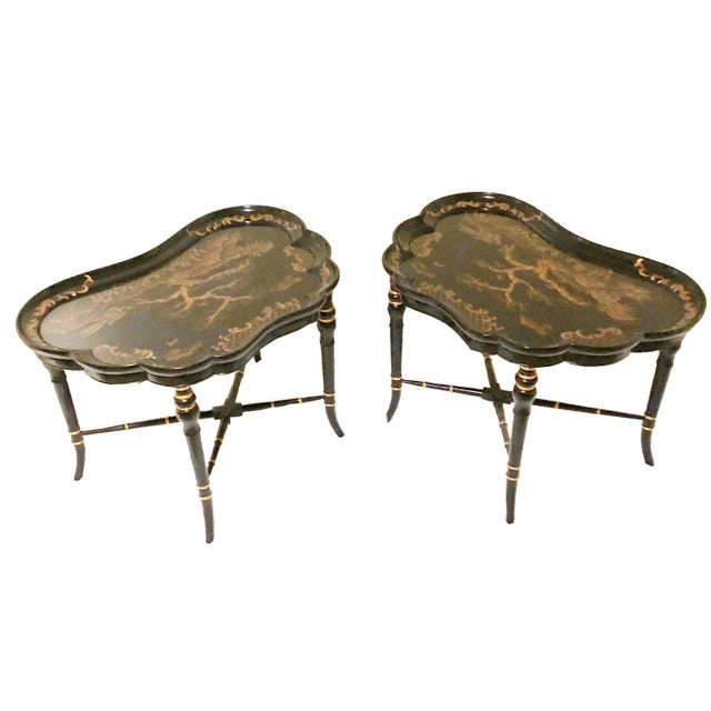 Very rare Karges Furniture Evansville, Indiana Chinoiserie black lacquer side tables with gilt asian decorations. Mint...