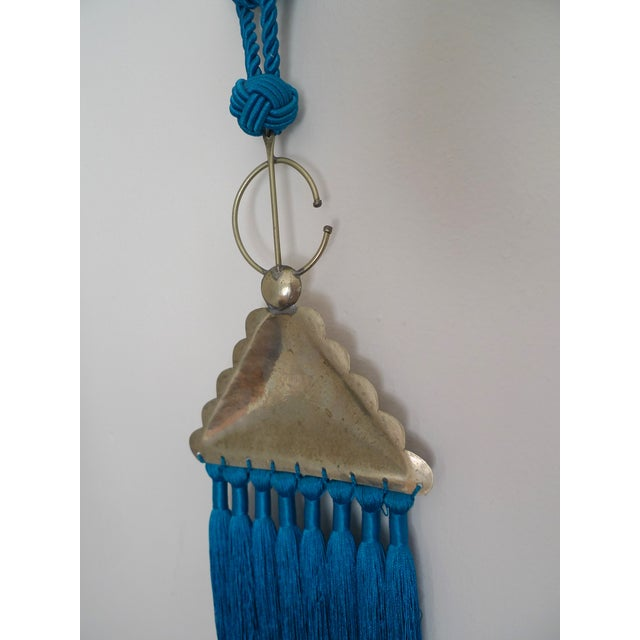 Moroccan Blue Silk & Brass Tassel Ornament - Image 8 of 8