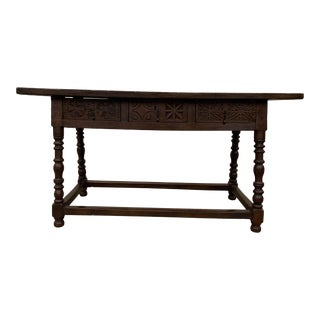 18th C Italian Carved Three Drawer Console Table For Sale