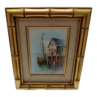 French Framed Oil Painting on Canvas of a Harbor Scene For Sale
