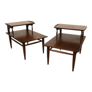 Bassett Artisan Mid-Century Modern Step-Up Side Table ~ a Pair For Sale