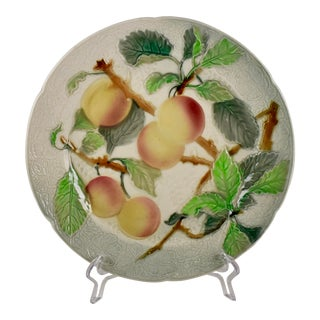 St. Clément Keller & Guerin French Faïence Apricot Fruit Plate For Sale