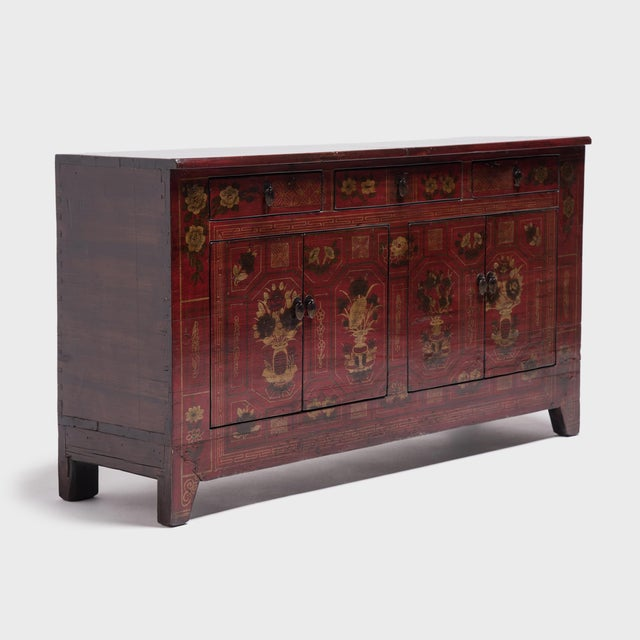 Early 20th Century Mongolian Floral Painted Storage Chest For Sale - Image 5 of 10