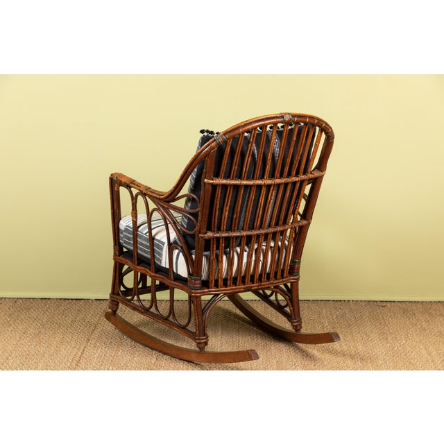 1920s Bent Wood Rocking Chair With Injiri Upholstery For Sale - Image 4 of 8