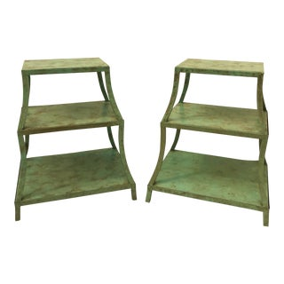 Vintage Pagoda Style Tiered Metal Nightstands-a Pair For Sale