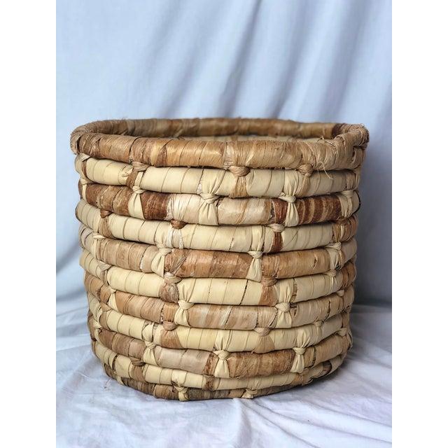 20th Century Boho Chic Cornhusk Basket For Sale - Image 10 of 10