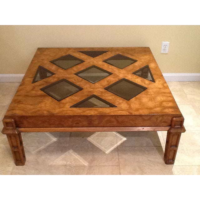 Wood Coffee Table With Smoked Glass Top Insert - Image 8 of 10
