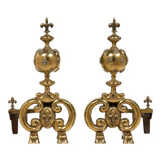 Antique French Fleur-de-lis Andirons - a pair