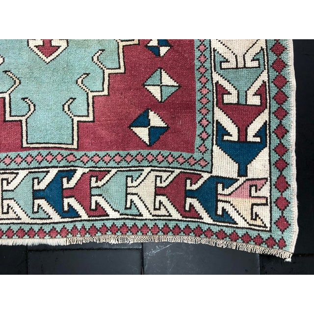 Red Antique Turkish Anatolian Aztec Decorative Hand Rug - 4′4″ × 6′7″ For Sale - Image 8 of 11