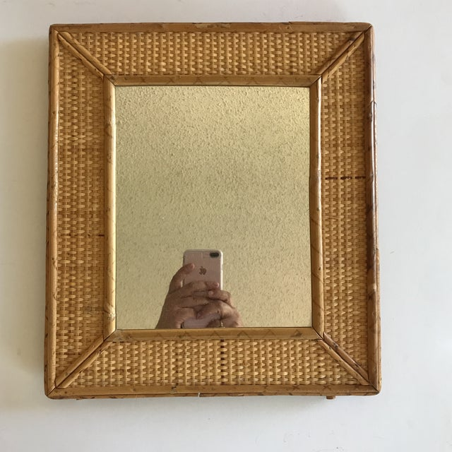 Vintage Raymor Style Rattan Bamboo Tabletop Mirror For Image 11 Of