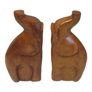 Vintage Wooden Hand-Carved Elephant Bookends - a Pair For Sale