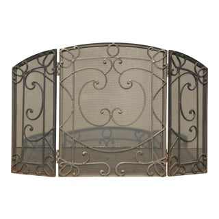 Vintage Black Wrought Iron Spanish Style Fireplace Screen For Sale