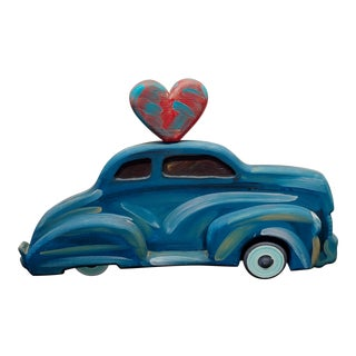 "Frank Romero ""Blue Chevy Car of Love"" Oil Painted Sculpture For Sale"