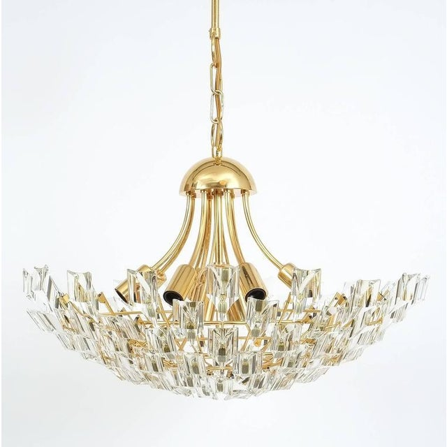 Large Glass and Brass Chandelier by Stilkrone Italy , circa 1970 For Sale - Image 6 of 9
