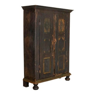 Antique Original Hand-Painted Primitive Armoire For Sale