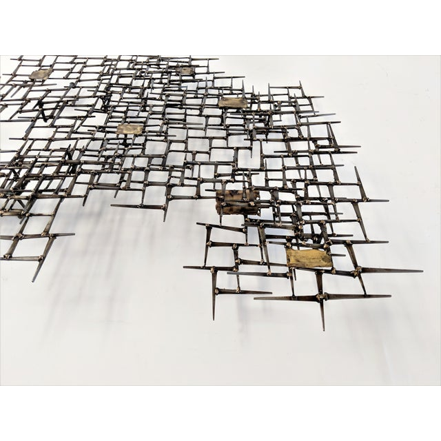 William Bowie Bronze Brass Brutalist Nail Wall Sculpture For Sale - Image 4 of 12