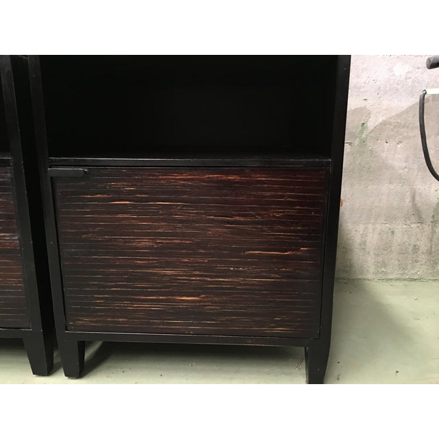 Wood 20th Pair of Ebonized Macassar NightStands or Side Tables With One Door For Sale - Image 7 of 12