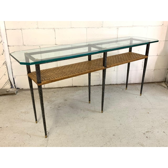 Steel and Rattan Console Table For Sale - Image 10 of 11