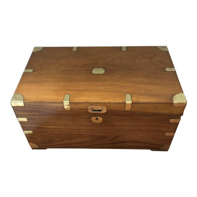 Antique Campaign Trunk With Original Brass and Camphor Interior For Sale