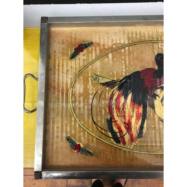 Asian Tray - Vintage Bird Motif Illustrated Tray For Sale - Image 3 of 6
